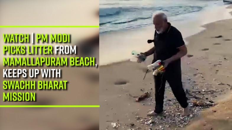 WATCH | PM Modi picks litter from Mamallapuram beach, keeps up with Swachh Bharat Mission