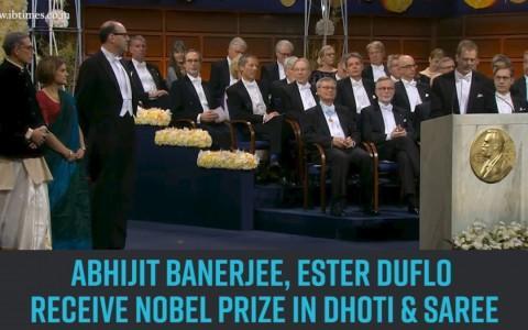 Keeping it desi: Abhijit Banerjee, Ester Duflo receive Nobel Prize in dhoti & saree