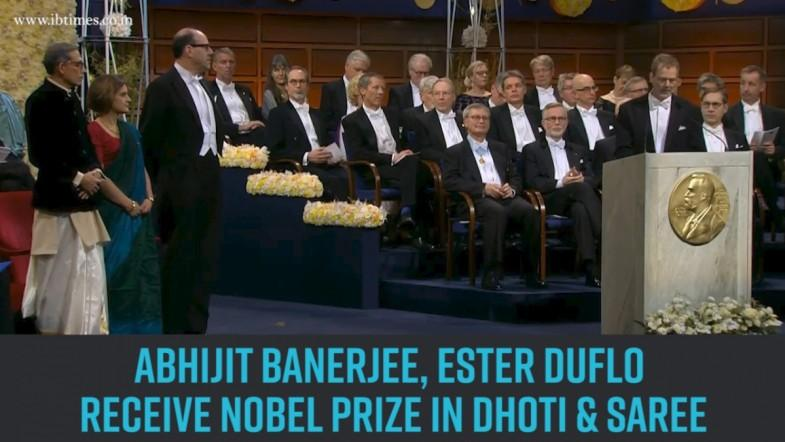 Keeping it desi: Abhijit Banerjee, Ester Duflo receive Nobel Prize in dhoti and saree