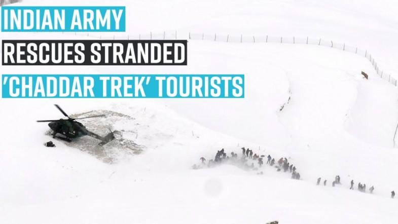 Indian Army rescues stranded Chaddar Trek tourists