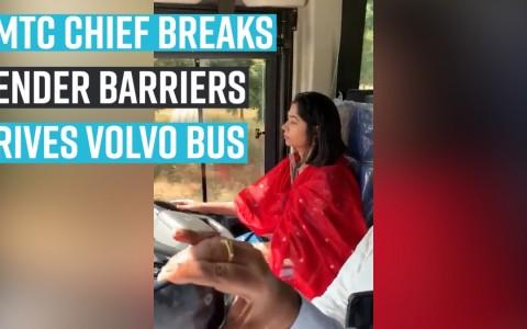 BMTC woman chief behind wheels of Volvo bus