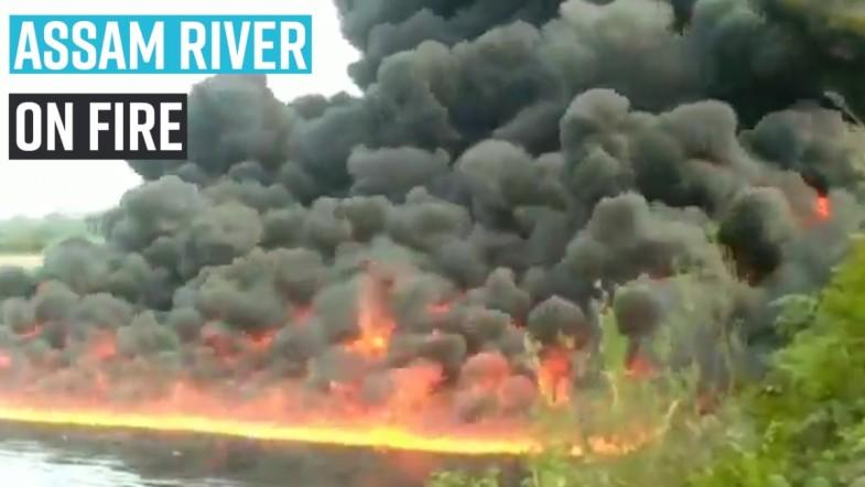 Assam river on fire