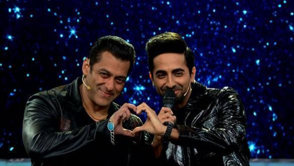 Salman Khan with Ayushmann Khurrana on Bigg Boss 13