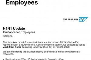 SAP India memo - H1N1 update