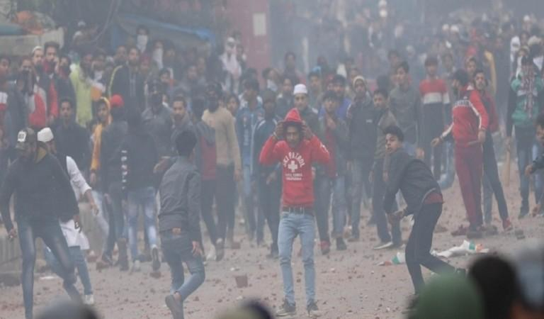 Protesters pelted stones at police personnel in Delhi during Monday's violence