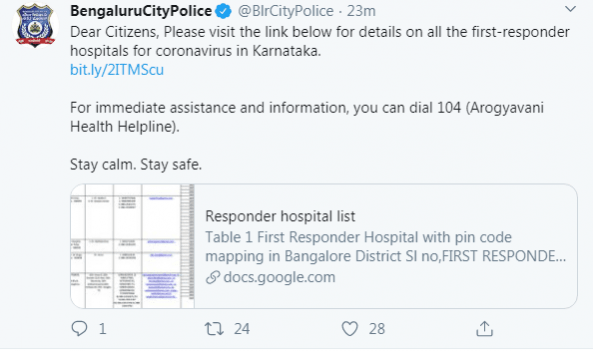 Bengaluru City Police tweet
