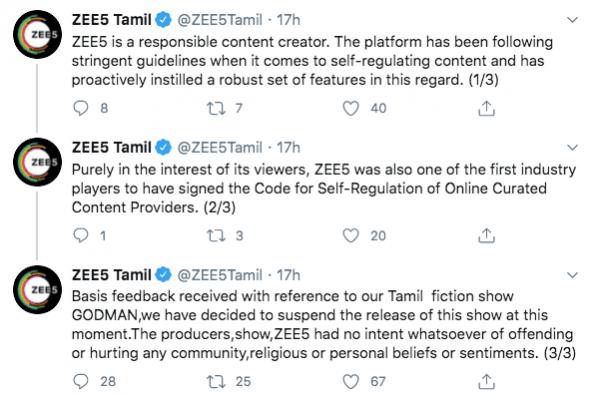 ZEE5 Tamil tweets on Godman
