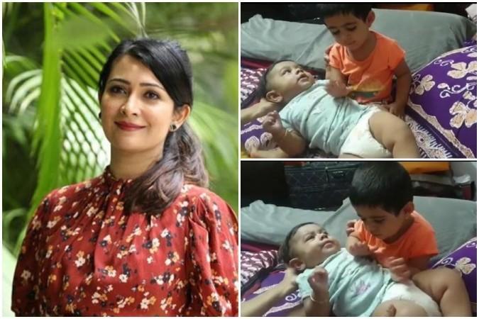 Radhika Pandit with her kids