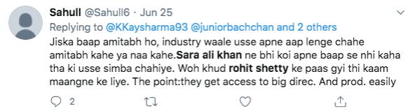 Tweet on Sara Ali Khan