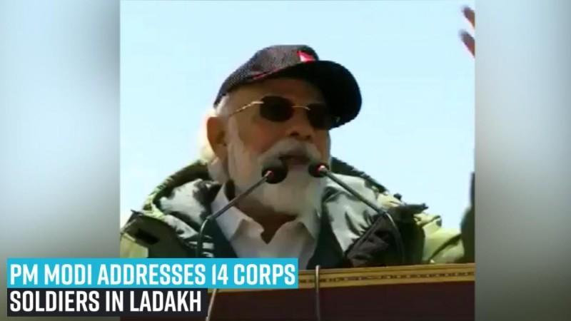 PM Modi addresses 14 Corps soldiers in Ladakh