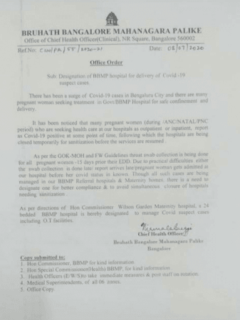 BBMP order for designated maternity hospital