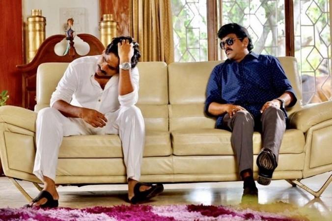 Power Star movie still featuring Pawan Kalyan and Chiranjeevi's lookalikes
