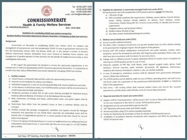 RWA'ların COVID bakım merkezlerini kurmasına yönelik hükümet yönergeleri