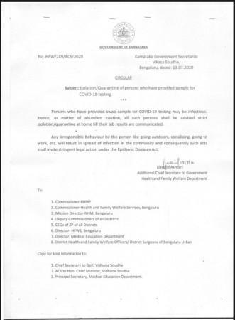 Karnataka Hükümeti test için swab örnekleri verenler üzerinde genelge