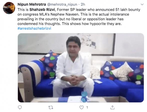 Tweet on Shahzeb Rizvi