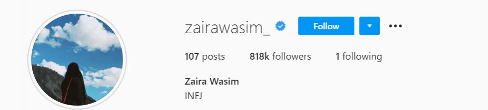 Zarina wasim  IG profile