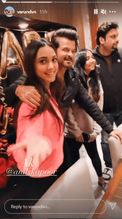 Anil Kapoor cuts cake with the cast of Jug Jug Jeeyo