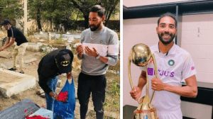 Mohammed Siraj at his father's grave, with the Border- Gavaskar trophy