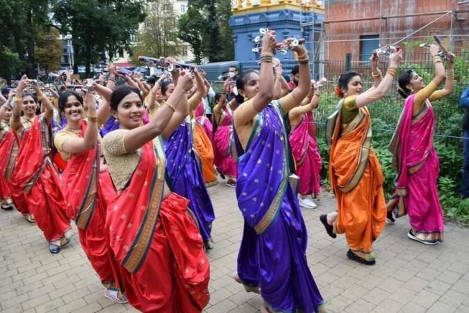 Lezim performers near Ganesha Hindu Temple in Berlin