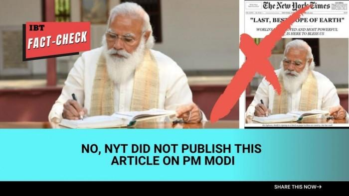 Fact check: NYT article on PM Modi is fake; poorly photoshopped image goes viral