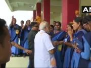 PM Narendra Modi arrives in Odisha, meets Anganwadi workers