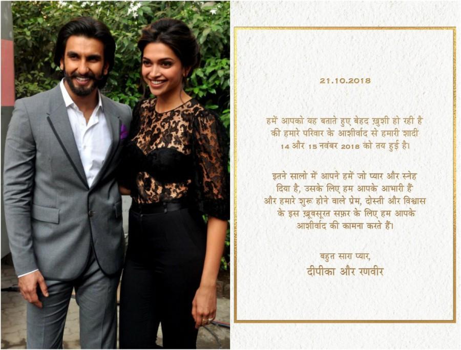 Deepika Padukone and Ranveer Singh announce their wedding ...