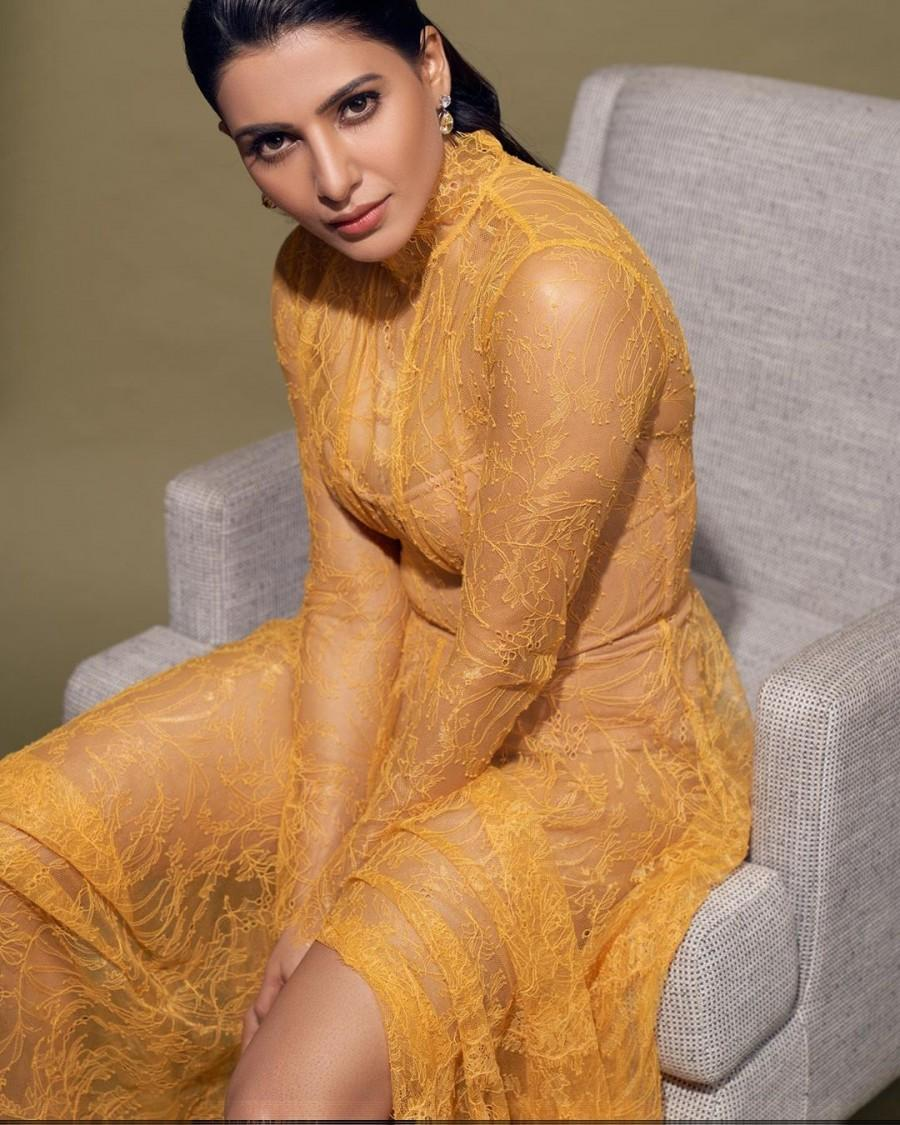 Samantha looking hot in yellow see-through dress - Photos,Images ...