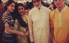 Actor Amitabh Bachchan was seen in a feather applique kurta from Abu Jani Sandeep Khosla this Diwali.