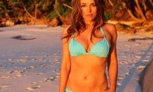 Elizabeth Hurley looks stunning in Blue Bikini as she shares throwback pic on Instagram.