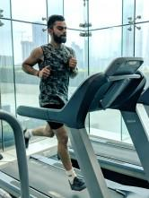 "India captain Virat Kohli posted pics with the caption: ""Today's session included a lot of band work for lower body strengthening; including lateral band walk, monster walk and then striding a distance of 80 meters x 12 repetitions at speed of 16km/hr on treadmill. 15 second break between each stride and completing 2 sets of 12""."