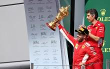 Germany's Sebastian Vettel of Ferrari won the British Grand Prix on Sunday, strengthening his grip on the overall lead in the Formula One drivers' standings after beating out Britain's Lewis Hamilton (Mercedes) and Finland's Kimi Raikkoenen (Ferrari), who finished second and third respectively. Starting from the second position, Vettel took advantage of a bad start by Hamilton in pole position to lead the early stages of the 52-lap race at the Silverstone circuit, reported Efe. Raikonnen knocked Hamilton into a spin in the first lap, and the British Grand Prix defending champion had to rejoin the race in 18th place, but managed to work his way back up to fifth by lap 20. Marcus Ericsson of Sweden (Sauber) crashed out in lap 33, and the safety car's deployment gave Hamilton and his Mercedes teammate Valtteri Bottas of Finland a chance to move up after Ferrari and Red Bull both pitted to change tires.