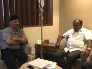CM HD Kumaraswamy meets DK Shivakumar at hospital